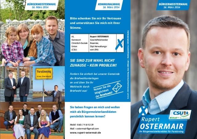 Rupert Ostermair Wahlinfo Vorderseite